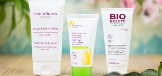 comparaison-masques-purifiants-bio-fleurance-nature-cinq-mondes-bio-beaute-nuxe