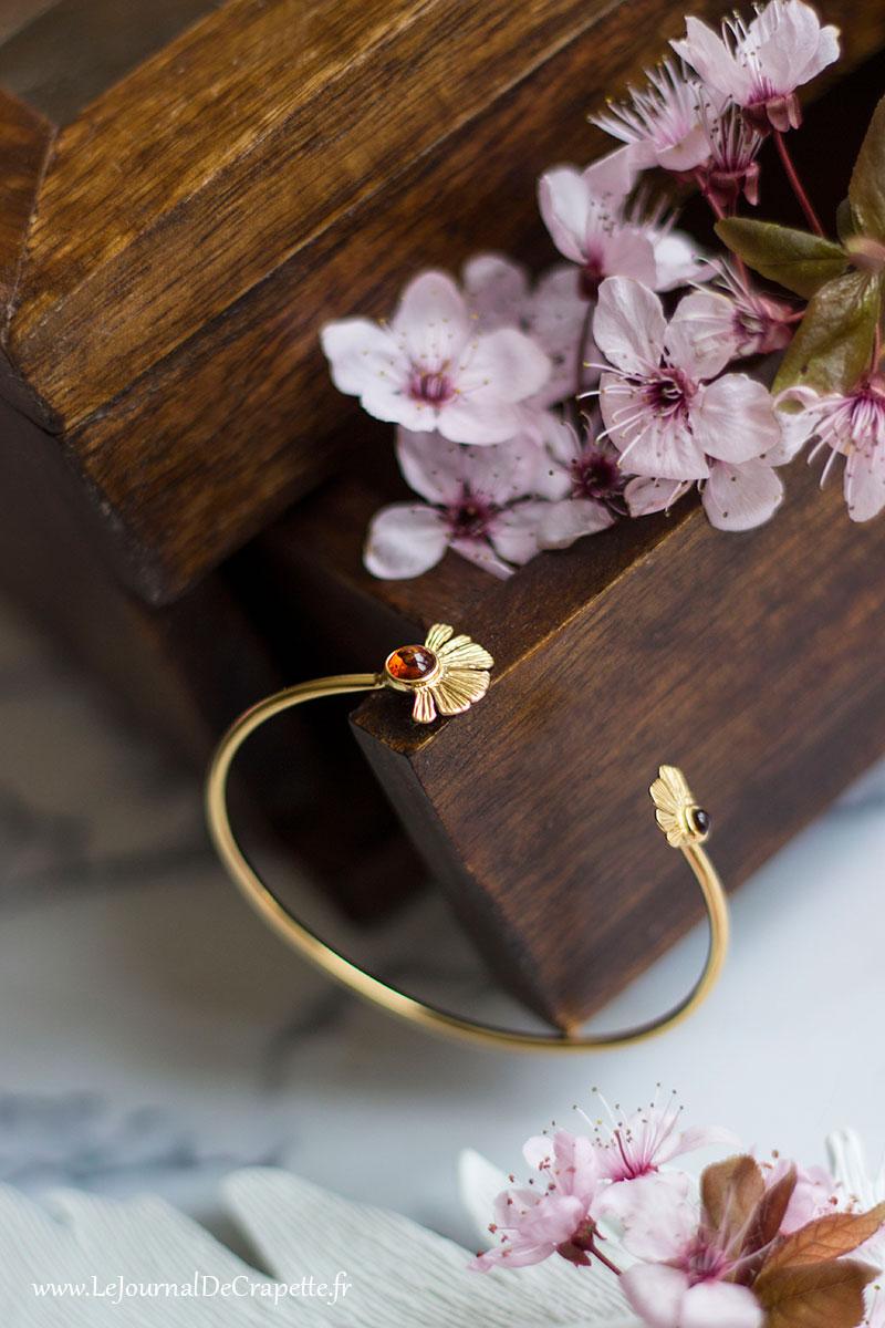 bracelet jonc Gingko ambre Nature et Découvertes